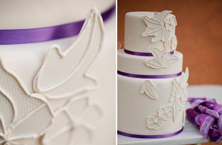 classic ivory purple wedding cake Credit Style Unveiled