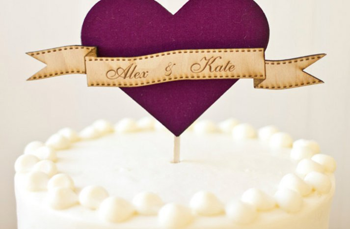 purple wedding cake topper white wedding cake