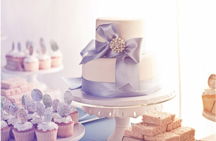 winter white wedding cake light lavendar ribbon