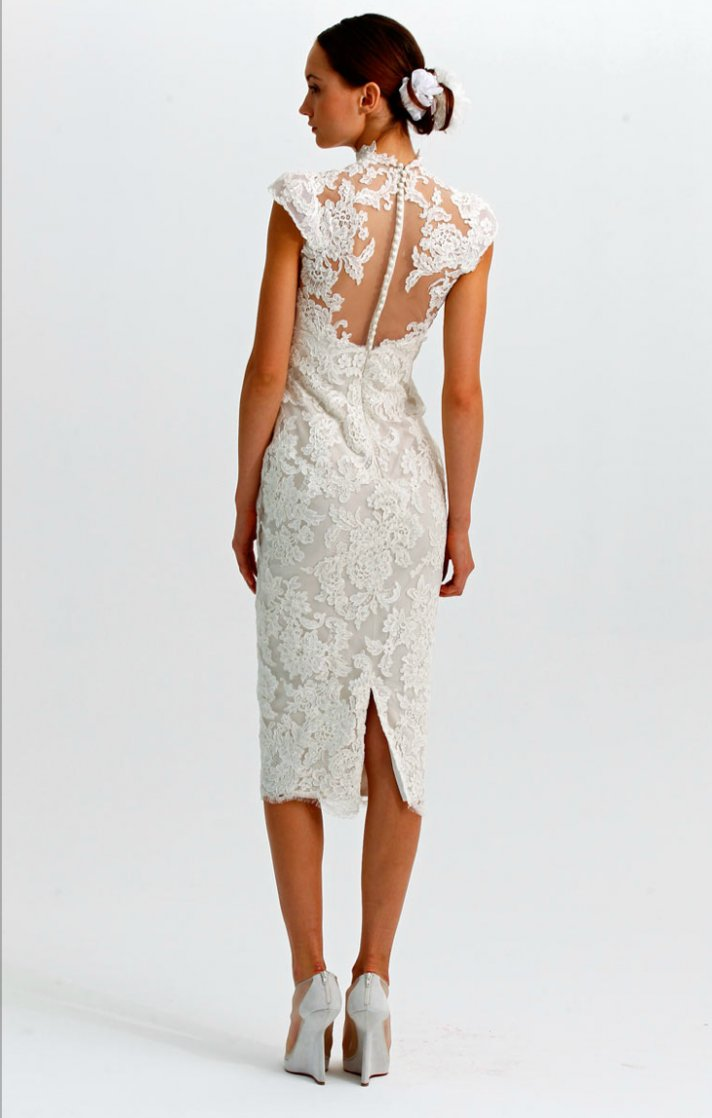 marchesa wedding dresses bridal fashion week fall marchesa wedding dress Marchesa Fall ornately embroidered ribbon work lace cocktail length wedding dress with satin