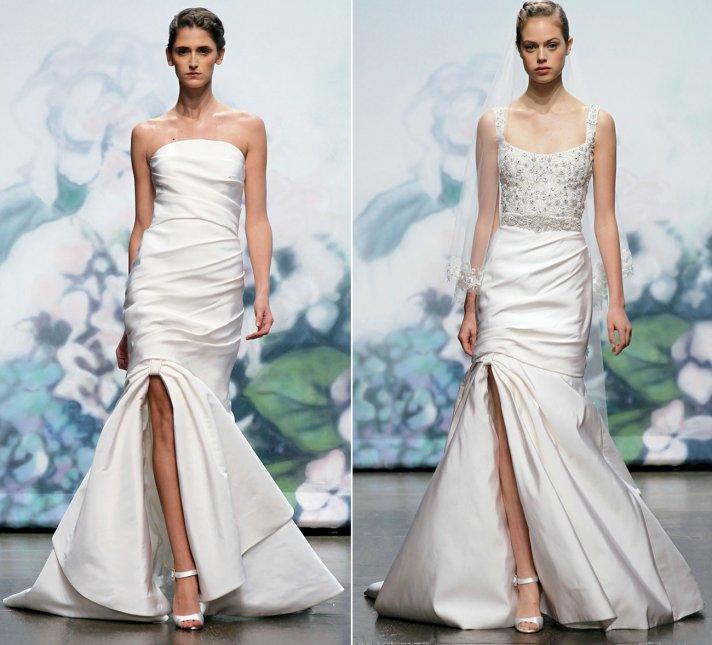 2012 wedding dress trends slits monique lhuillier bridal gowns mermaid