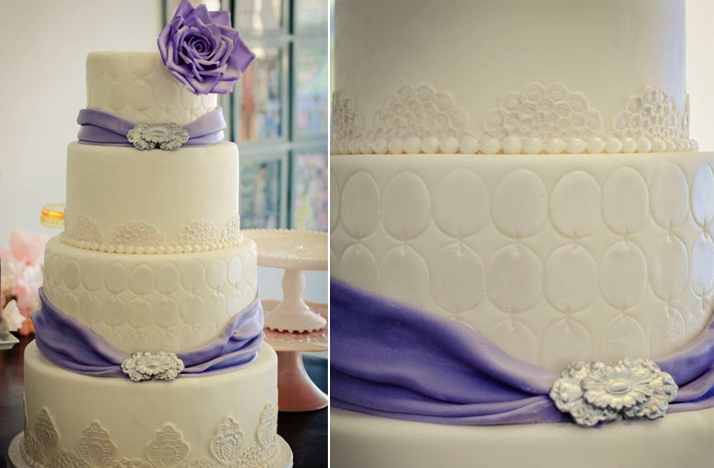 ivory purple wedding cake Credit none
