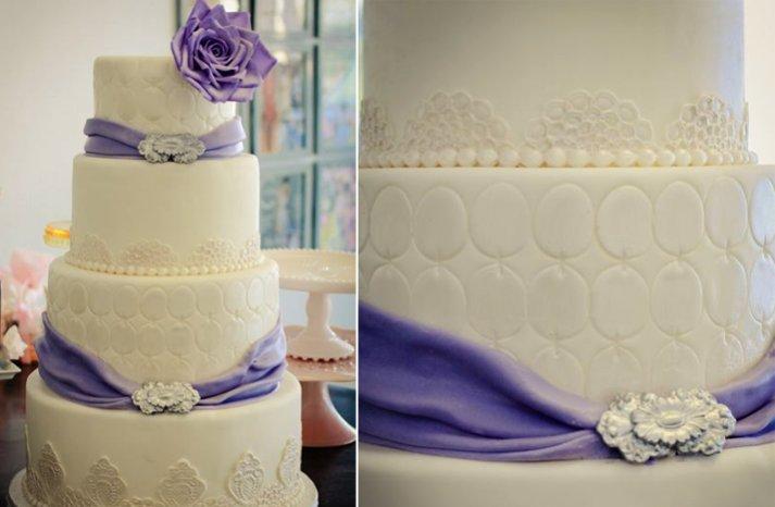 ivory purple wedding cake
