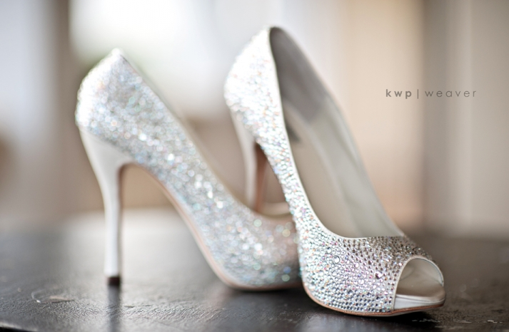 sparkly wedding shoes peep toe