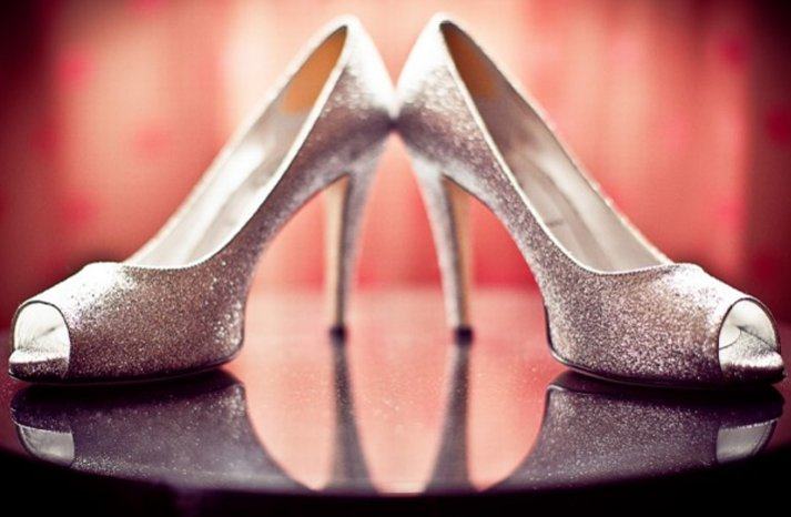 silver sparkle wedding shoes peep toe