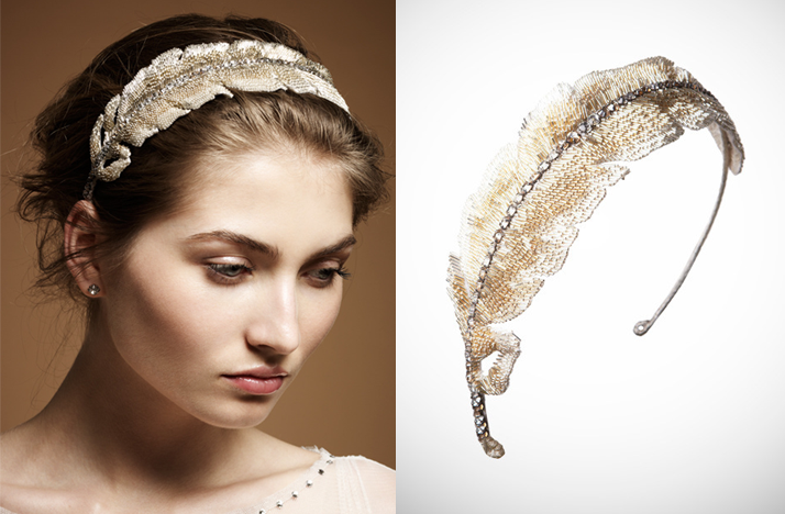 Gold feather bridal headband by Jenny packham Credit Jenny Packham