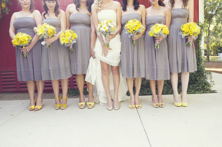 real fall wedding september grey bridesmaids dresses