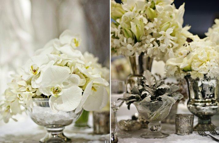 white wedding flowers winter wedding reception centerpieces