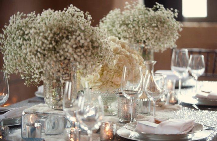 white wedding flower receptionc enterpieces