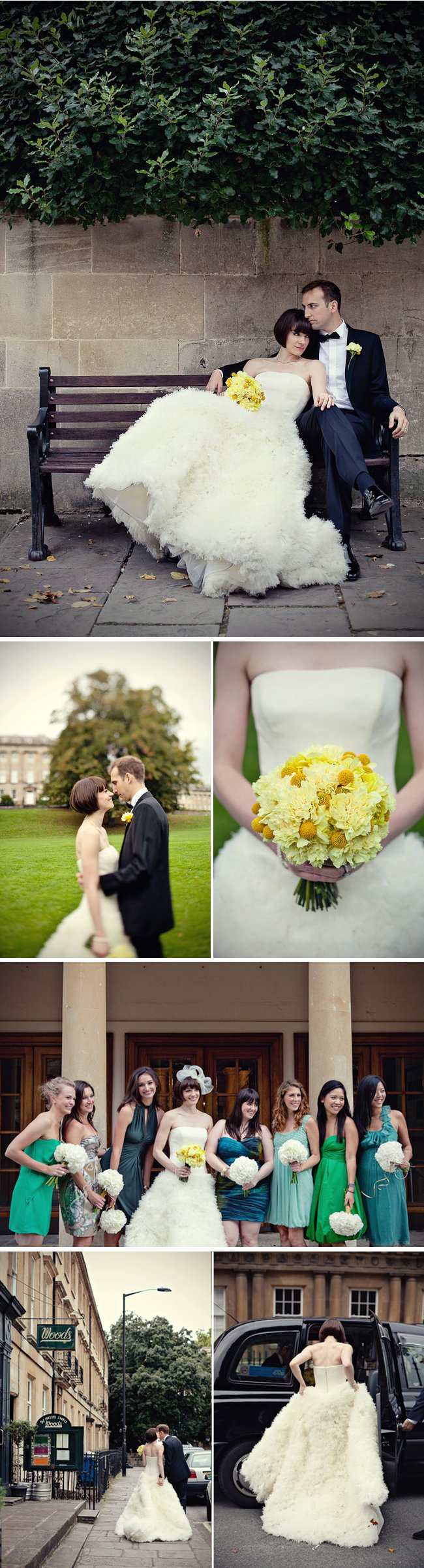 elegant real weddings yellow bridal bouquet dramatic ballgown wedding dress