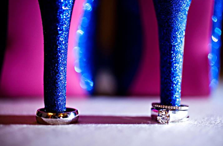 round diamond engagement ring blue wedding shoes Credit Amanda Wilcher