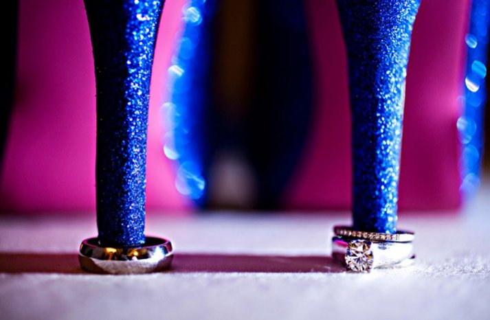 round diamond engagement ring blue wedding shoes