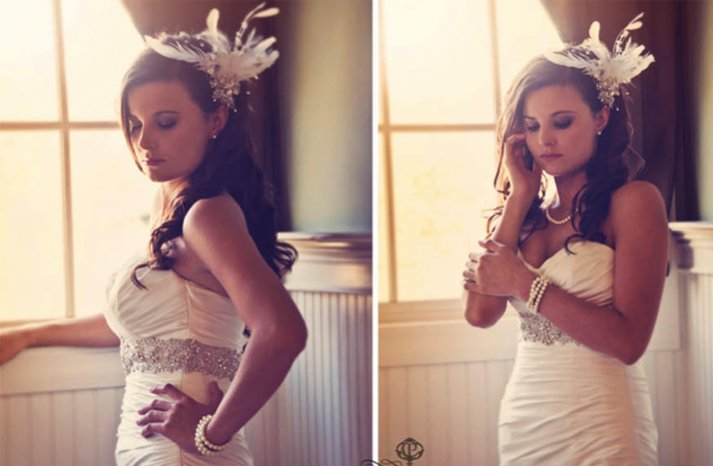 vintage inspired all down wedding hair feather fascinator