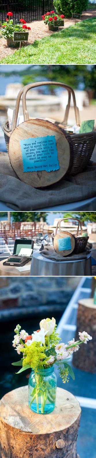 real wedding turquoise color palette mason jar reception centerpieces