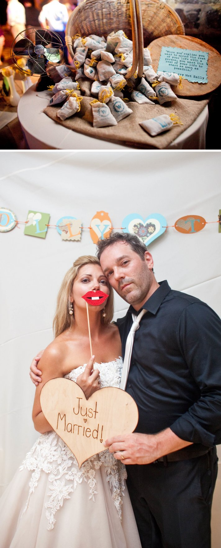Southern summer wedding- white wedding cake, photobooth fun