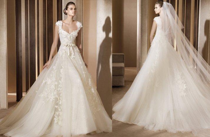 aglaya wedding dress lace cap sleeves 2012 bridal gowns elie saab