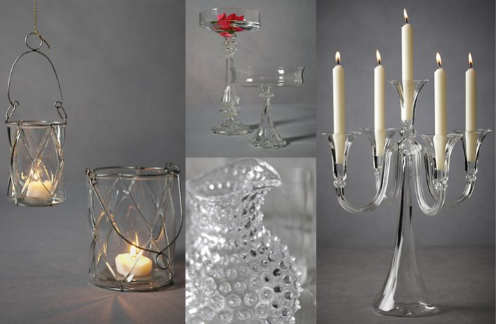 glass wedding reception decor lighting candles