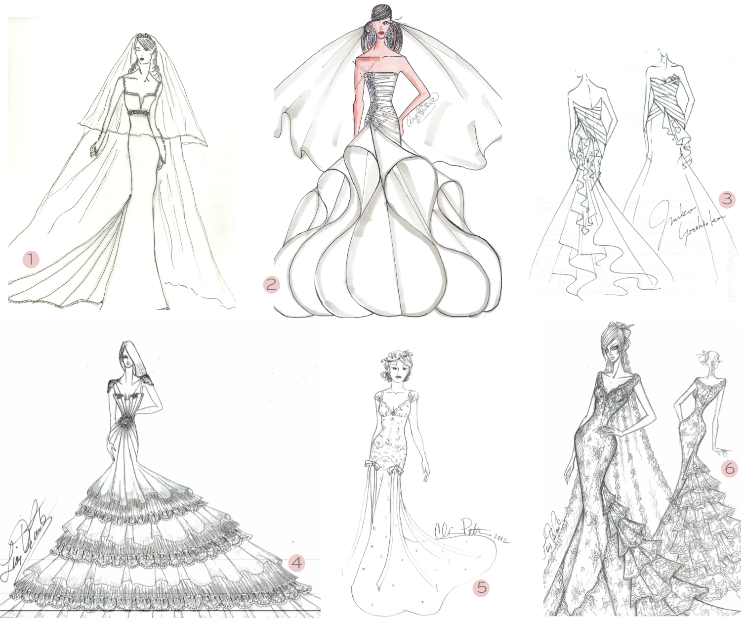 Es Sanchez: bridal gown sketches