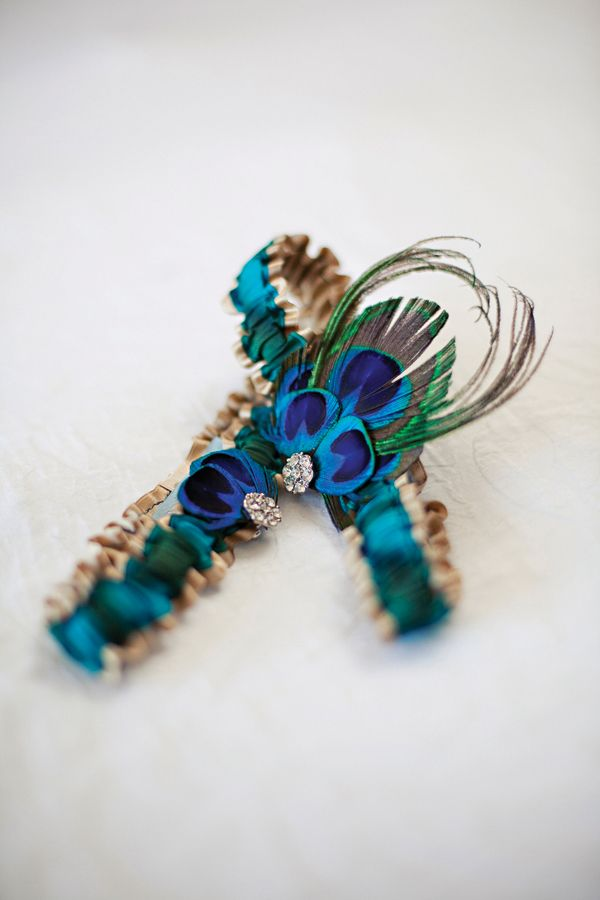 cultural real weddings peacock blue gold bridal garter