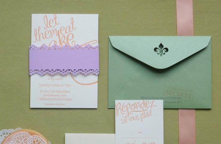 whimsical wedding invitations purple green