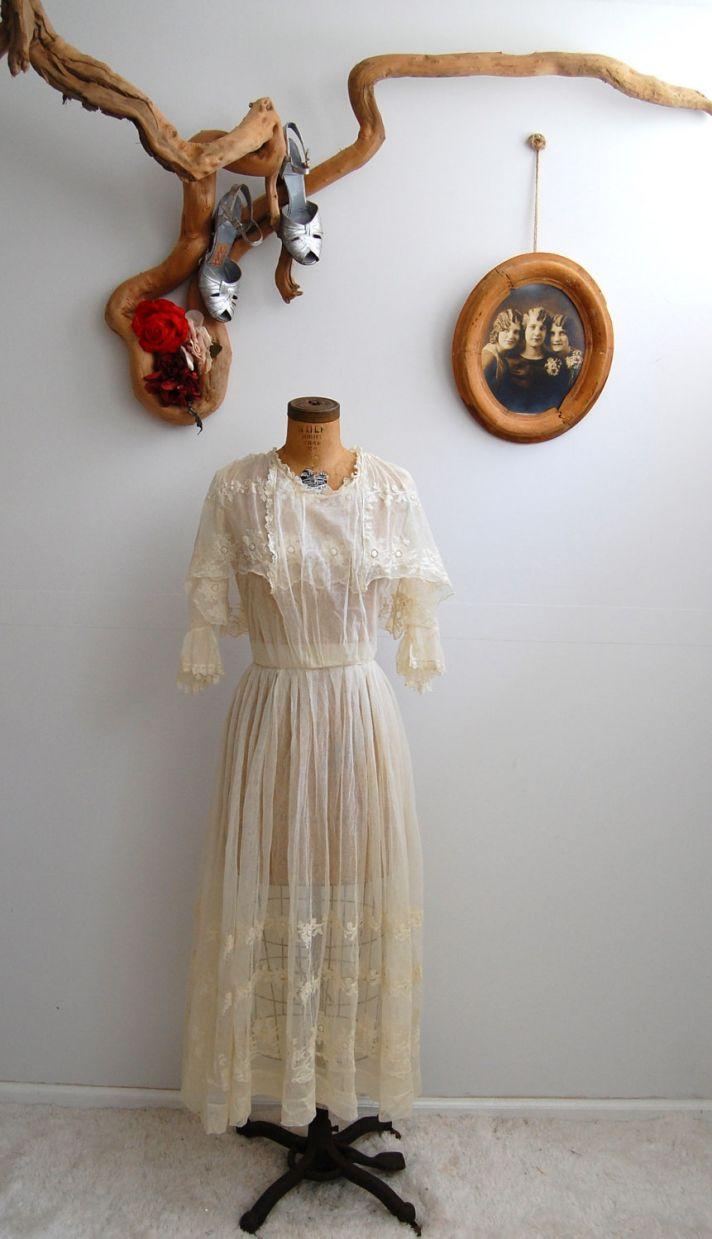 vintage wedding dress sleeves 1910