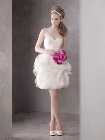 White by vera wang designer wedding dresses onewed for Vera wang tea length wedding dress