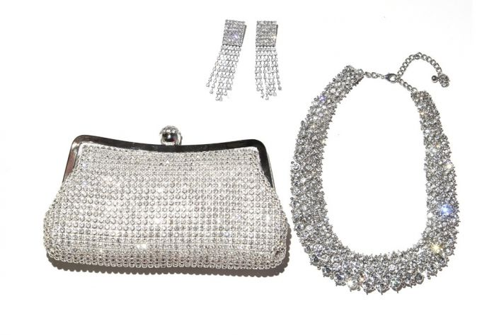 bebe bridal accessories sparkly clutch necklace earrings