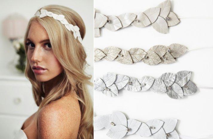 simple bridal headband leaf motif