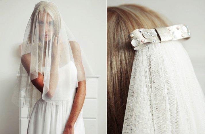 sheer layered bridal veil embellished bridal clip