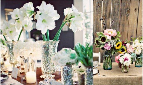 simple wedding reception centerpieces silver cases