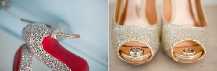 wedding bands photographed on brides shoes