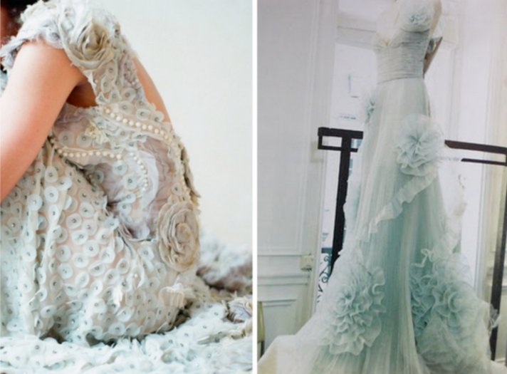 pale blue wedding dresses romantic bridal style 2012 trends