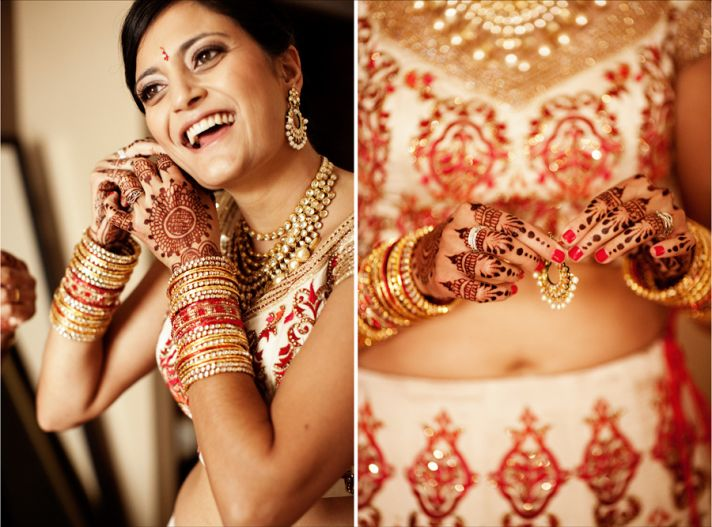 multi cultural weddings indian bride red nails gold wedding jewelry