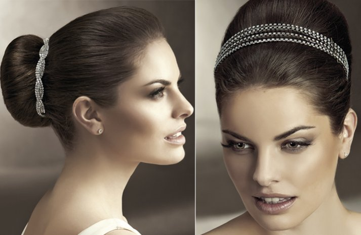 2012 wedding hair accessories bridal hairstyles pronovias sparkling crystals