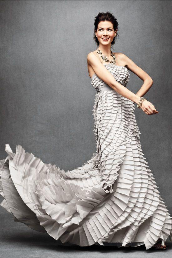 Silver pleated wedding dress by BHLDN