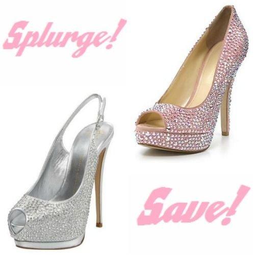 wedding ideas splurge or save rhinestone wedding pumps