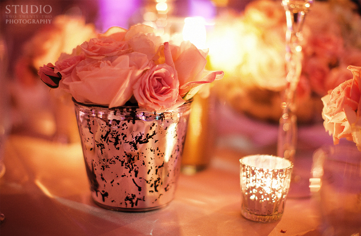 simple wedding centerpieces pink roses Credit Studio 222 Photography via