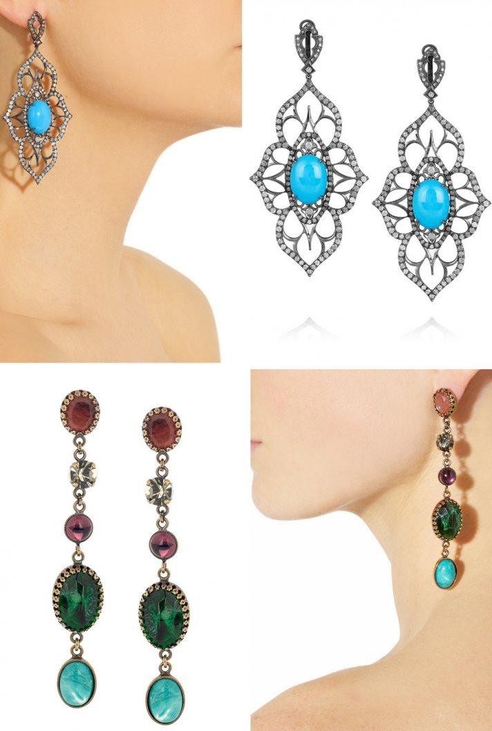 bridal earrings turquoise
