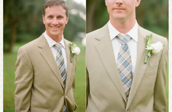 summer groom long neck tie khaki suit