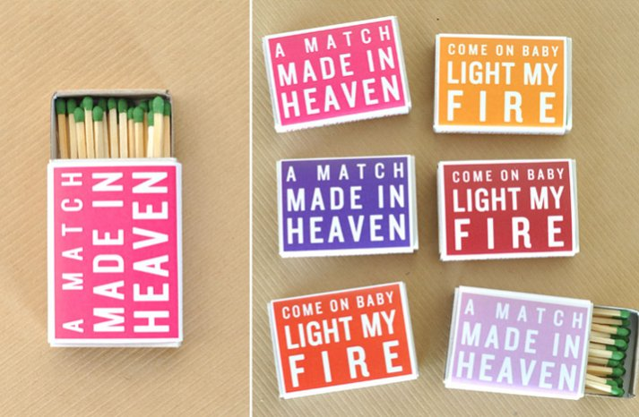 DIY wedding favors love themed matches