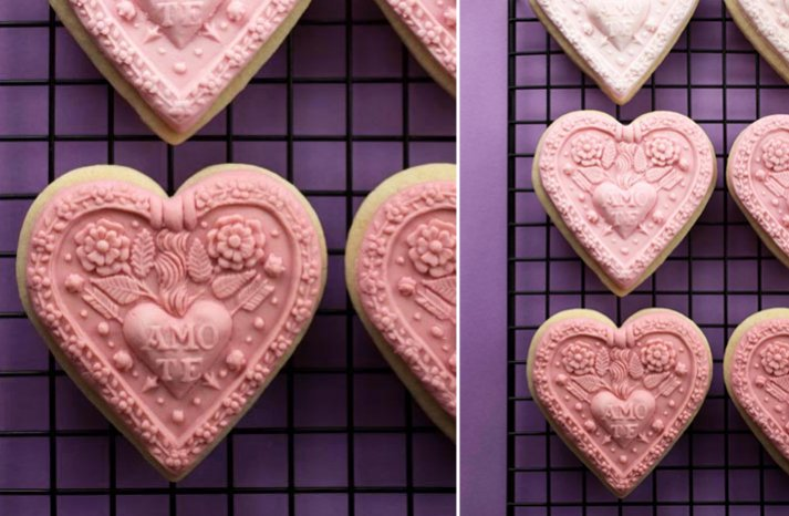 elegant heart shaped cookies DIY wedding favors
