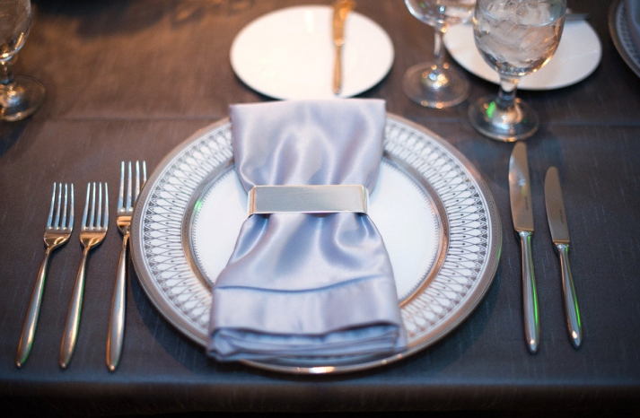 ice blue silver wedding colors reception table place setting