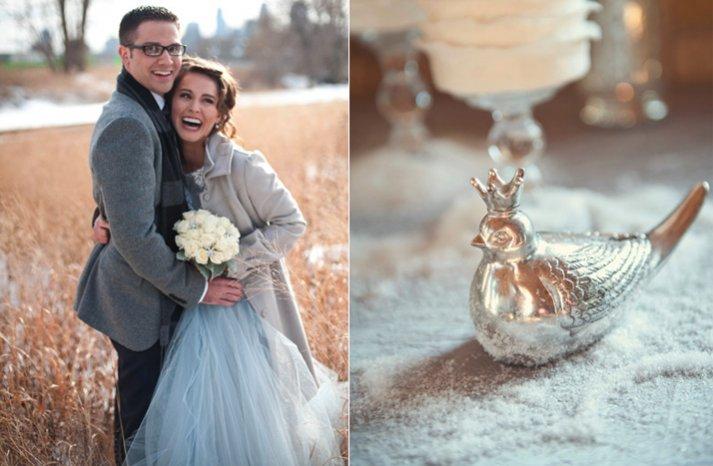 silver ice blue white wedding inspiration winter reception decor