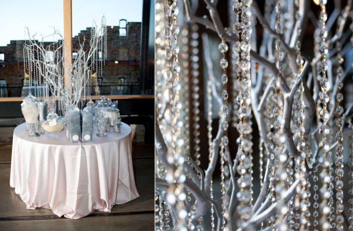 winter wedding reception decor hanging crystals