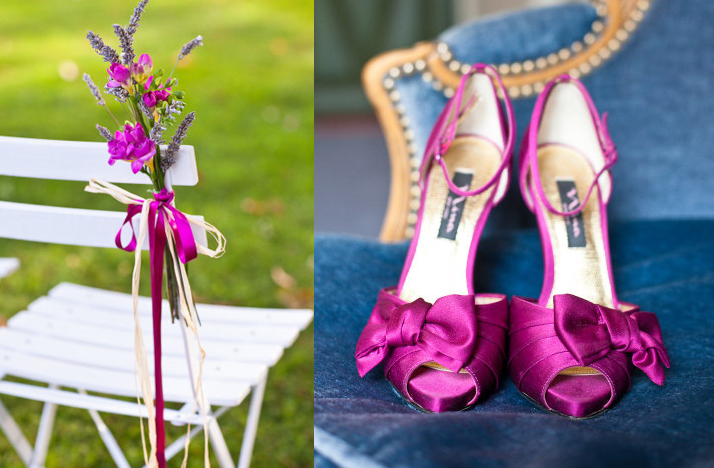 magenta wedding shoes satin outdoor ceremony wedding flowers