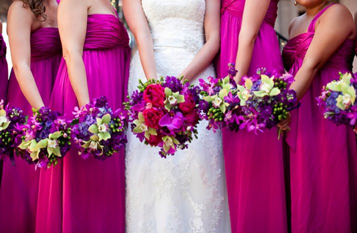 hot pink bridesmaids dresses long tropical bouquets