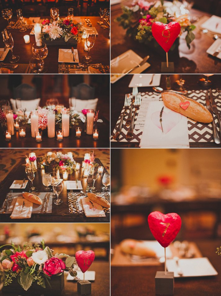 Romantic Wedding Reception Decor Candlelight Pink Red Ivory Flower Centerpieces