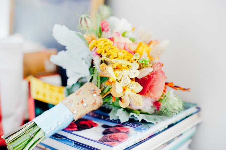 bright bridal bouquet yellow peach green wedding flowers