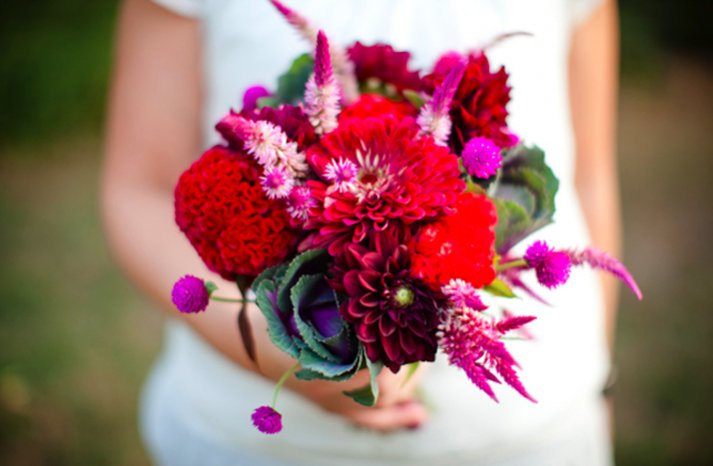 bright red purple bridal bouquet