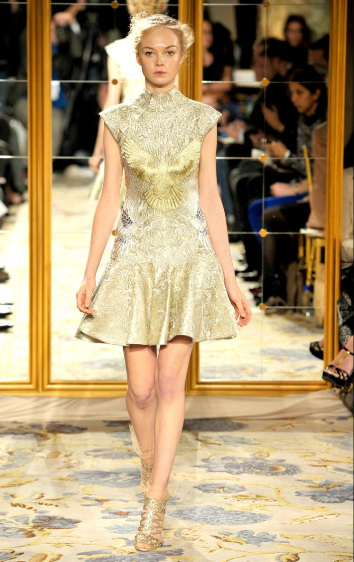 Fall 2012 wedding dress inspiration Marchesa RTW cap sleeved little white dress gold embroidery